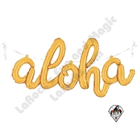 45 Inch Shape Aloha Script Gold Foil Balloon Betallatex 1ct