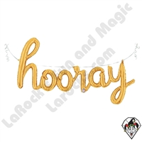 44 Inch Shape Hooray Script Gold Foil Balloon Betallic 1ct