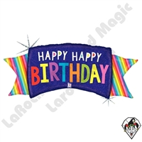 46 Inch Shape Rainbow Banner Birthday Foil Balloon Betallic 1ct