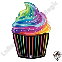 27 Inch Shape Rainbow Cupcake Foil Balloon Betallic 1ct