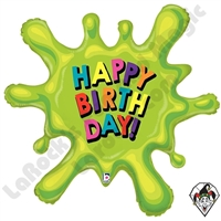 39 Inch Shape Birthday Slime Foil Balloon Betallic 1ct