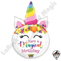 33 Inch Shape Mighty Bright Birthday Unicorn Non-Foil Balloon Betallic 1ct