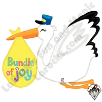 43 Inch Shape Baby Bundle Stork Foil Balloon Betallatex 1ct