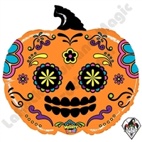 28 Inch Shape Mighty Bright Pumpkin Sugar Skull Non-Foil Balloon Betallatex 1ct