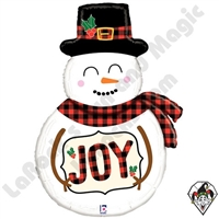 39 Inch Shape Buffalo Plaid Snowman Foil Balloon Betallic 1ct