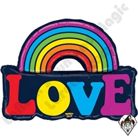 37 Inch Shape Mighty Bright Love Rainbow Non-Foil Balloon Betallatex 1ct