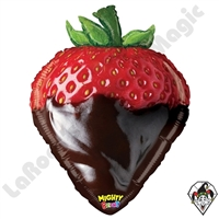 26 Inch Shape Mighty Bright Chocolate Strawberry Non-Foil Balloon Betallic 1ct
