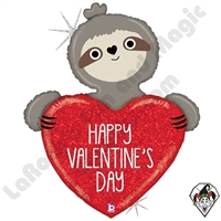35 Inch Shape Valentine Sloth Foil Balloon Betallic 1ct