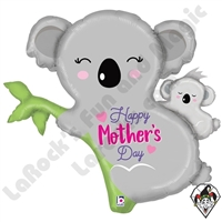 35 Inch Shape Mother's Day Koala Foil Balloon Betallic 1ct