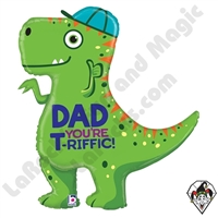 35 Inch Shape T-Rex Dad Foil Balloon Betallatex 1ct