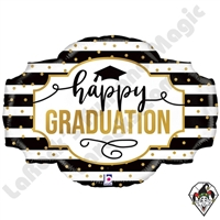 32 Inch Shape Black And White Stripe Graduation Foil Balloon Betallic 1ct