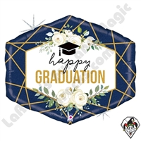 30 Inch Shape Geo Navy Graduation Foil Balloon Betallatex 1ct