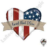32 Inch Shape Patriotic Land That I Love Foil Balloon Betallic 1ct