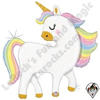 48 Inch Shape Glitter Pastel Unicorn Foil Balloon Betallic 1ct