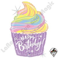 27 Inch Shape Pastel Birthday Cupcake Foil Balloon Betallic 1ct