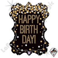 34 Inch Shape Metallic Birthday Frame Foil Balloon Betallic 1ct