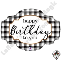 32 Inch Shape Black & White Buffalo Plaid Birthday Foil Balloon Betallic 1ct