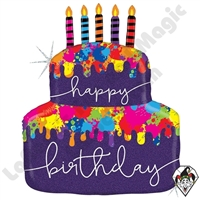 30 Inch Shape Paint Splatter Birthday Cake Foil Balloon Betallic 1ct