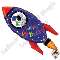 40 Inch Shape Birthday Rocket Foil Balloon Betallic 1ct