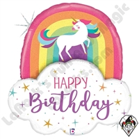 35 Inch Shape Unicorn Rainbow Birthday Foil Balloon Betallic 1ct