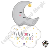 42 Inch Shape Welcome Baby Moon Foil Balloon Betallic 1ct