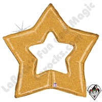 48 Inch Shape Glitter Gold Star Foil Balloon Betallic 1ct