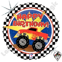 18 Inch Round Monster Truck Birthday Foil Balloon Betallic 1ct