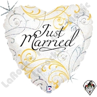 18 Inch Heart Just Married Filigree Foil Balloon Betallic 1ct