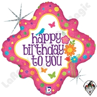 Betallic 18 Inch Diamond Birthday Fresh Flowers Foil Balloon 1ct
