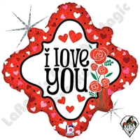 18 Inch Diamond I Love You Hearts & Roses Foil Balloon Betallic 1ct