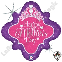 18 Inch Diamond Happy Mother's Day Queen Foil Balloon Betallic 1ct