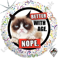 18 Inch Round Grumpy Cat Better With Age Nope Foil Balloon Betallic 1ct