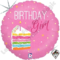 18 Inch Round Birthday Cake Girl Foil Balloon Betallic 1ct