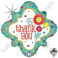 18 Inch Diamond Thank You Dots & Flowers Foil Balloon Betallic 1ct