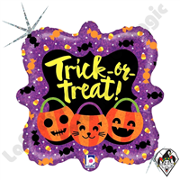18 Inch Square Trick Or Treat Pumpkins Foil Balloon Betallic 1ct