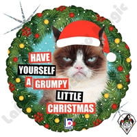 18 Inch Round Grumpy Cat Christmas Foil Balloon Betallic 1ct