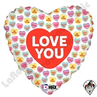 18 Inch Round Love You Conversation Hearts Foil Balloon Betallic 1ct