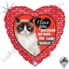 18 Inch Heart Grumpy Cat Love Foil Balloon Betallatex 1ct