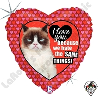 18 Inch Heart Grumpy Cat Love Foil Balloon Betallic 1ct