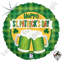 18 Inch Round St. Patrick's Day Green Beer Foil Balloon Betallic 1ct