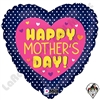 18 Inch Heart Mother's Day Swiss Dots Foil Balloon Betallatex 1ct