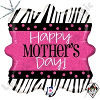 18 Inch Square Zebra Mother's Day Foil Balloon Betallic 1ct
