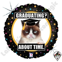 18 Inch Round Grumpy Cat Graduation Foil Balloon Betallic 1ct