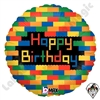 18 Inch Round Birthday Blocks Foil Balloon Betallic 1ct