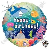 18 Inch Round Birthday Ocean Foil Balloon Betallic 1ct