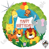 18 Inch Round Jungle Animals Birthday Foil Balloon Betallic 1ct