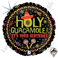 18 Inch Round Holy Guacamole Birthday Foil Balloon Betallic 1ct