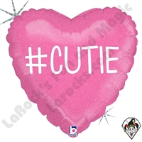 18 Inch Heart Hashtag Cutie Girl Foil Balloon Betallic 1ct