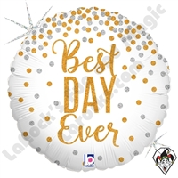 18 Inch Round Glittering Best Day Ever Foil Balloon Betallic 1ct