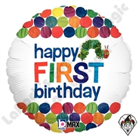 18 Inch Round The Very Hungry Caterpillar Happy First Birthday Foil Balloon Betallic 1ct
